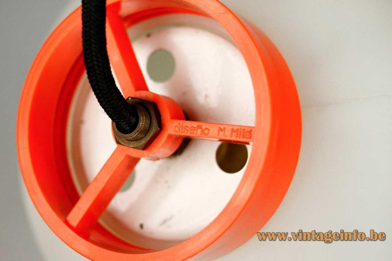 Miguel Mila Globo Cestita pendant 1960s design opal oval globe lampshade orange ring Tramo Polinax Spain