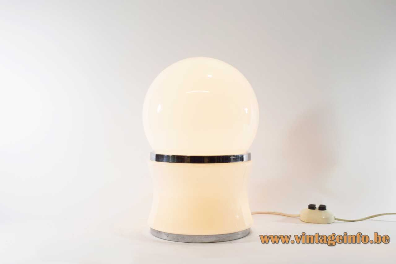 Opal glass globe table lamp chrome base & ring double switch 3 sockets 1960s 1970s MCM Mid-Century Modern