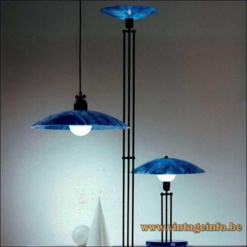 Paul Neuhaus table, floor & pendant lamp in blue glass and metal design: Rolf Krüger 1980s
