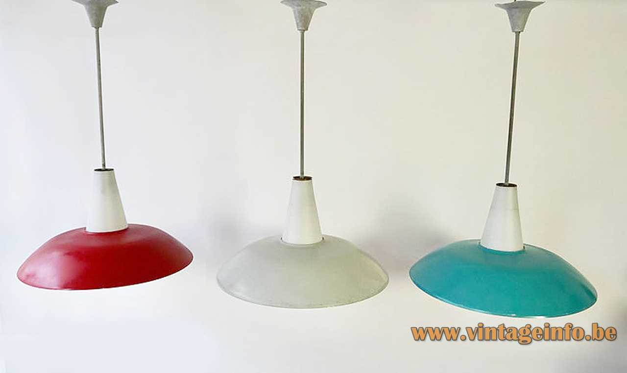 Philips 1950s pendant lamp design Louis Kalff white opal glass diffuser round metal lampshade 1960s