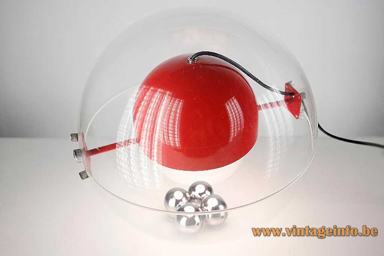 Rafael Carreras Tramo table lamp clear acrylic globe red round aluminium lampshade 4 chrome balls 1970s