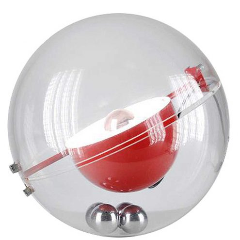 Rafael Carreras Tramo table lamp clear acrylic globe red round aluminium lampshade 4 chrome balls 1970s