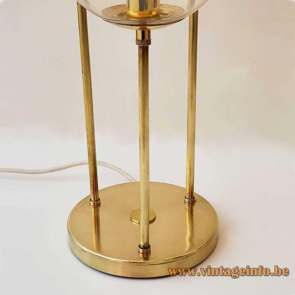 Sölken-Leuchten table lamp 3 glass globes brass rods Germany gold 1960s, 1970s MCM Mid-Century Modern label