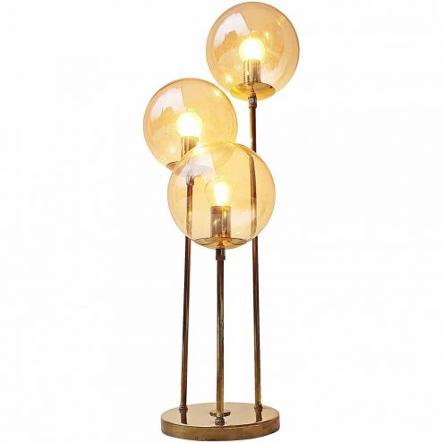 Sölken-Leuchten gold globes table lamp 3 glass lampshades brass rods & base 1960s 1970s Germany