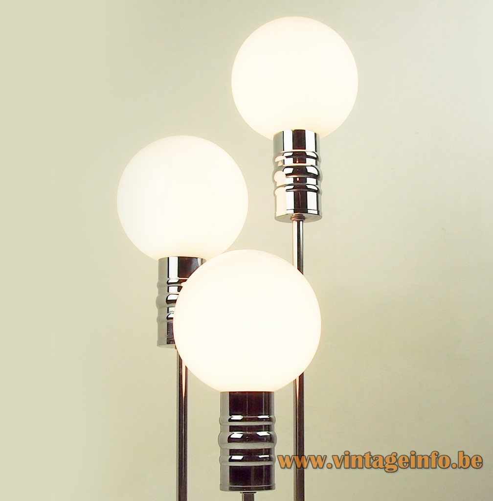Sölken-Leuchten table lamp 3 opal glass globes chrome Germany 1960s, 1970s MCM Mid-Century Modern floor lamp