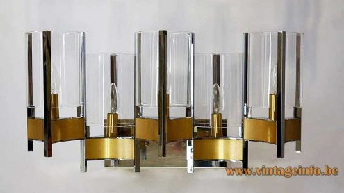 Wall lamp in brass and chrome with 4 clear glass cylinders E14 sockets