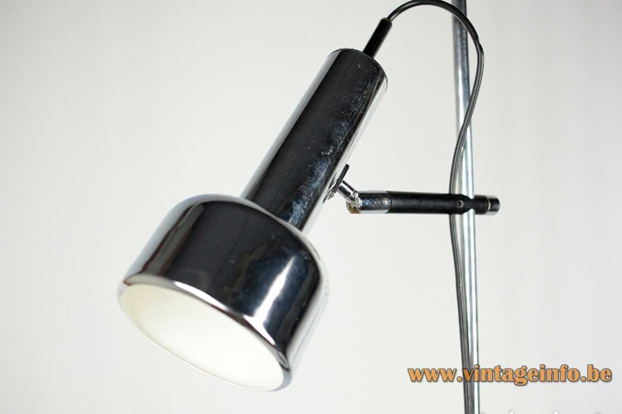 Staff floor lamp chrome rod & lampshade black round base Germany 1970s MCM Mid-Century Modern E27 socket