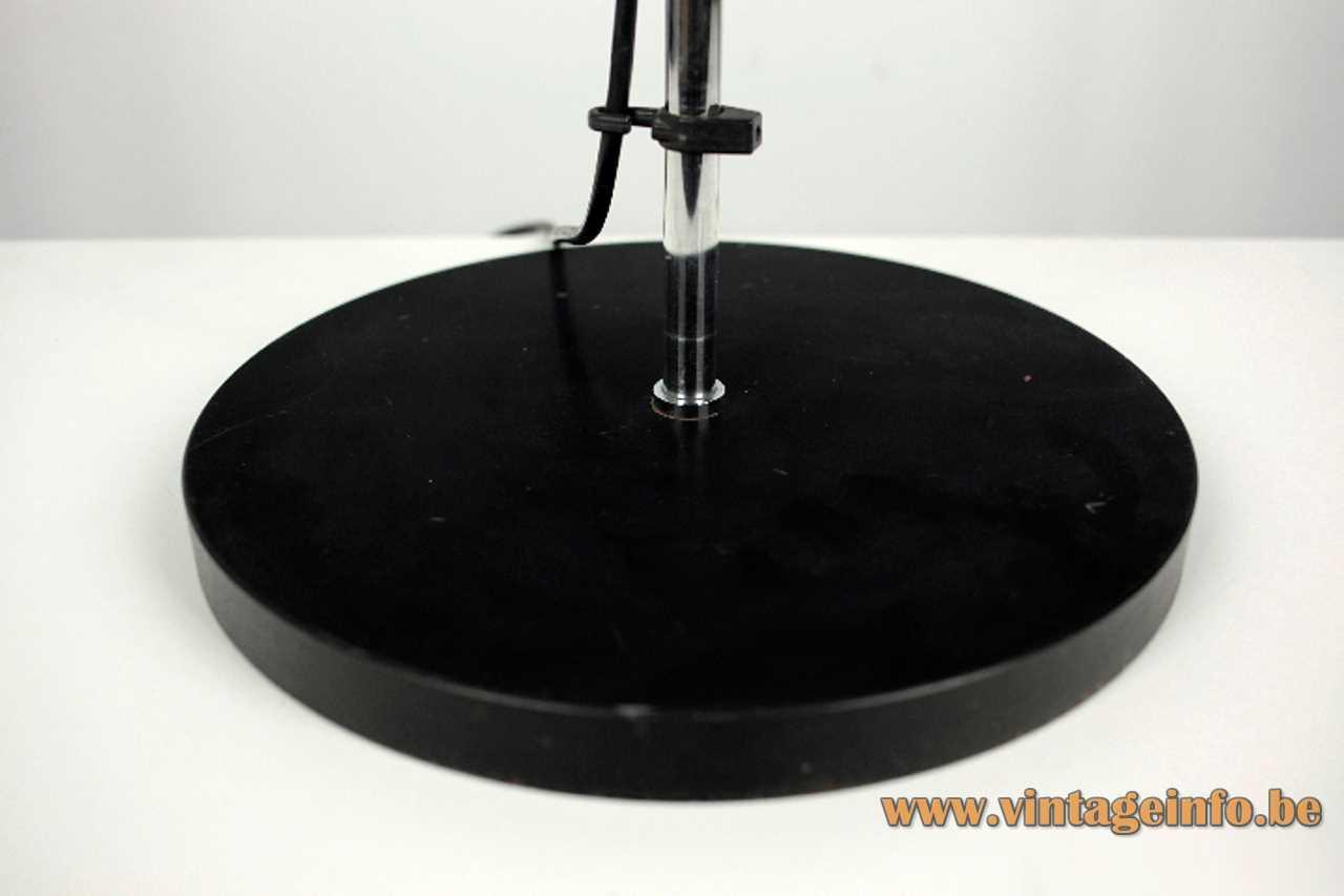 Staff floor lamp chrome rod & lampshade black round base Germany 1970s MCM Mid-Century Modern E27 socket