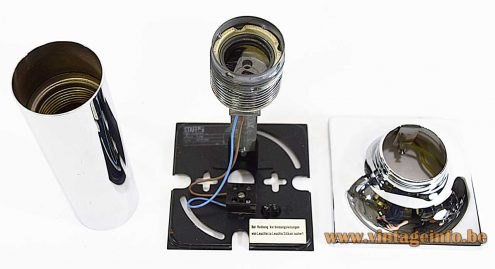 Staff chrome tube flush mount design: Rolf Krüger inside view label metal E27 socket 1960s 1970s