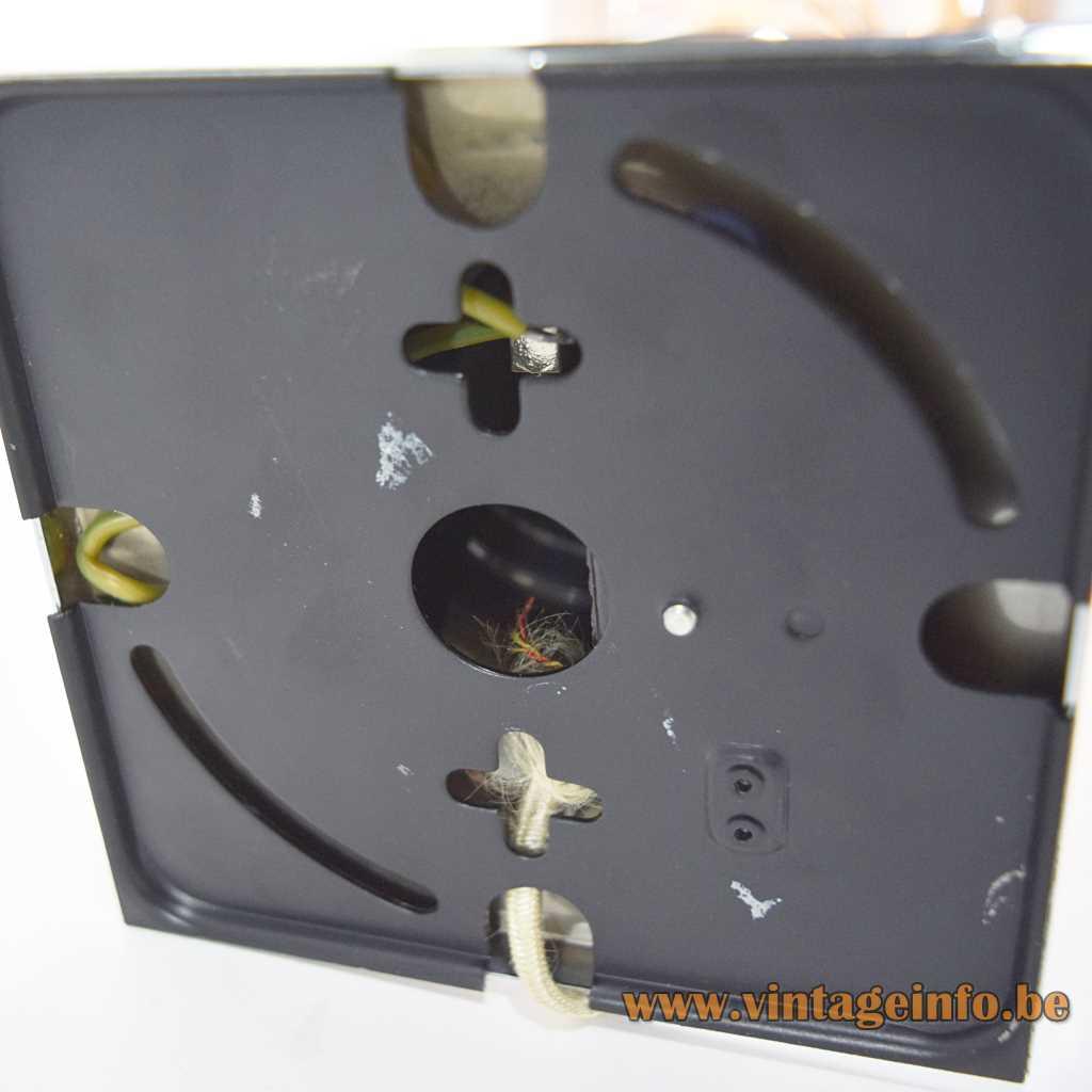 Staff chrome tube flush mount design: Rolf Krüger black painted square metal bottom 1960s 1970s