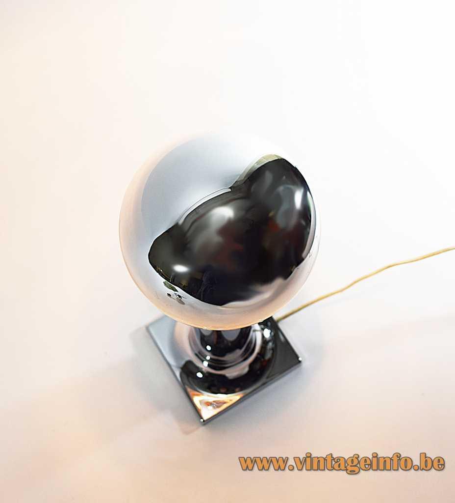 Staff chrome tube flush mount design: Rolf Krüger square base long tube 1960s 1970s E27 socket