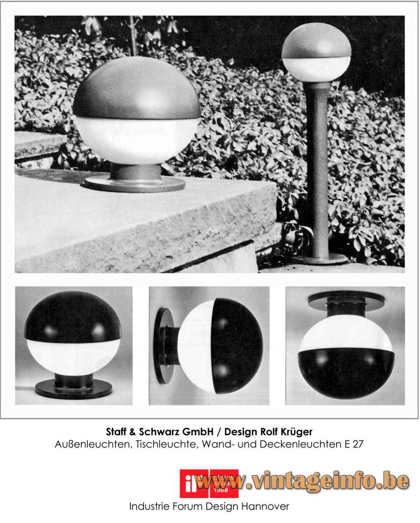 Staff Garden, Table, Wall & Ceiling Lamps - Design Rolf Krüger - 1968 iF Design Award