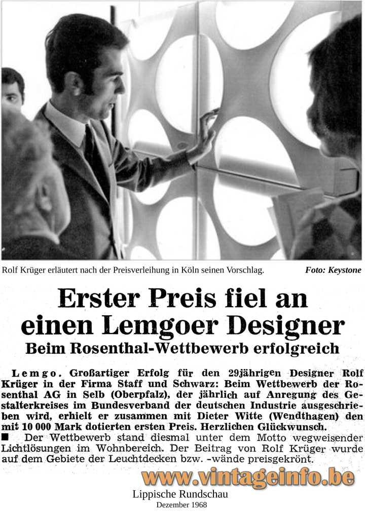 Staff Kreuzaustern Wall Lamp - Designer: Rolf Krüger - Cross Oyster Wall Lamp - 1968