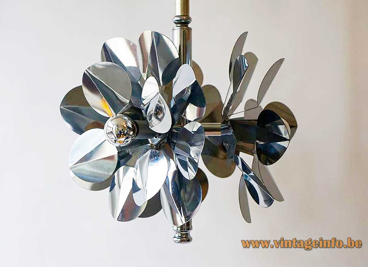Stainless steel flower chandelier 3 folded & cut Inox lampshades Tappital Italy rise & fall mechanism 1960s 1970s