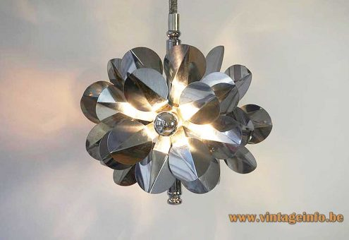 Stainless steel chandelier flowers Tappital Italy Inox rise & fall mechanism 1960s 1970s MCM Mid-Century Modern