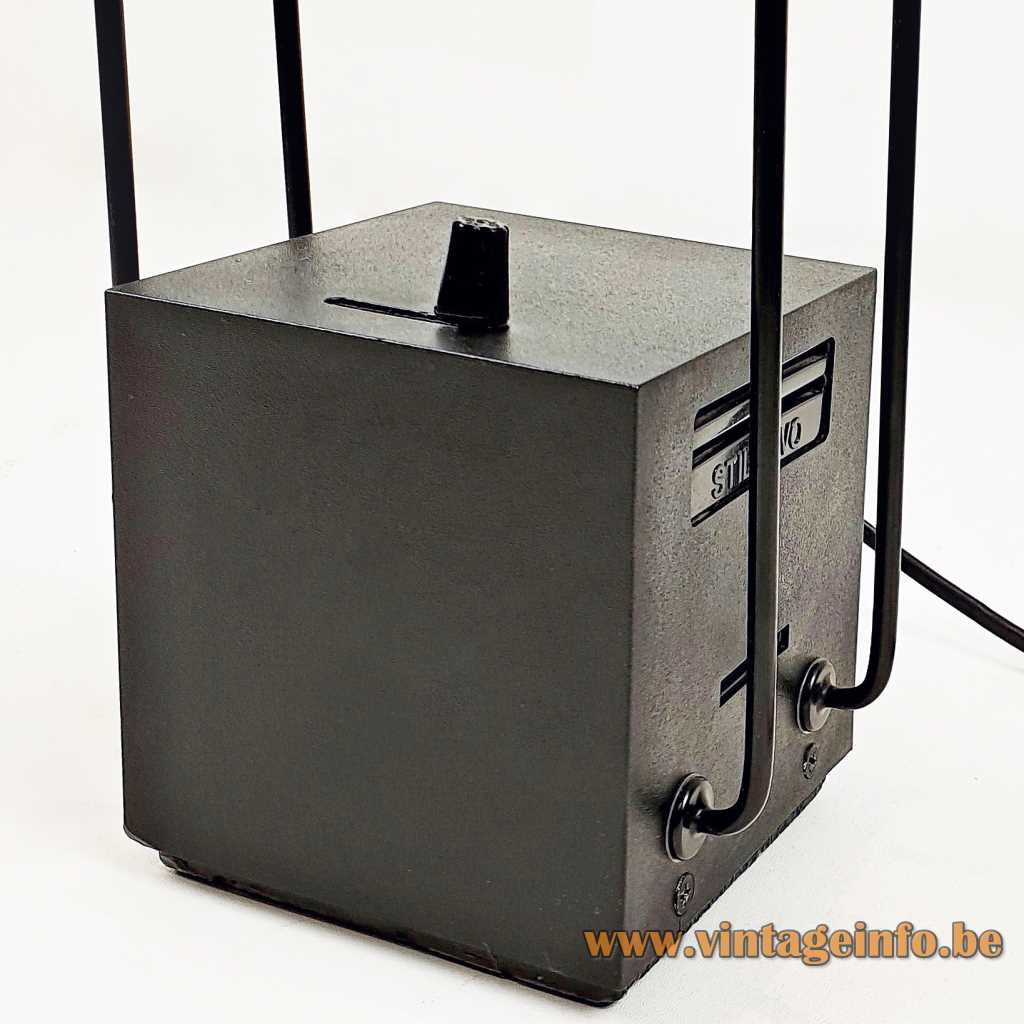 Stilnovo desk lamp black cube 1980 design by Shigeaki Asahara halogen dimmer Tokyo table lamp Italy