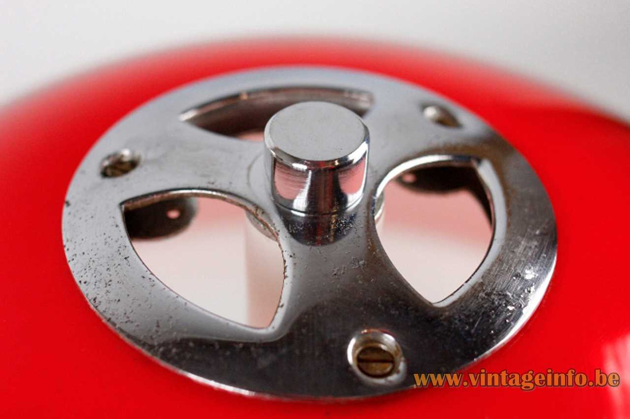 Tramo mushroom table lamp design: Joan Antoni Blanc chrome ring on the lampshade 1960s Spain