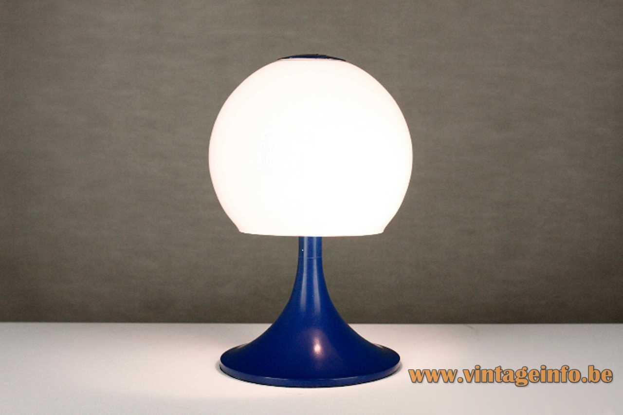 Tramo opal globe table lamp design: Joan Antoni Blanc blue base glass lampshade 1960s 1970s Spain