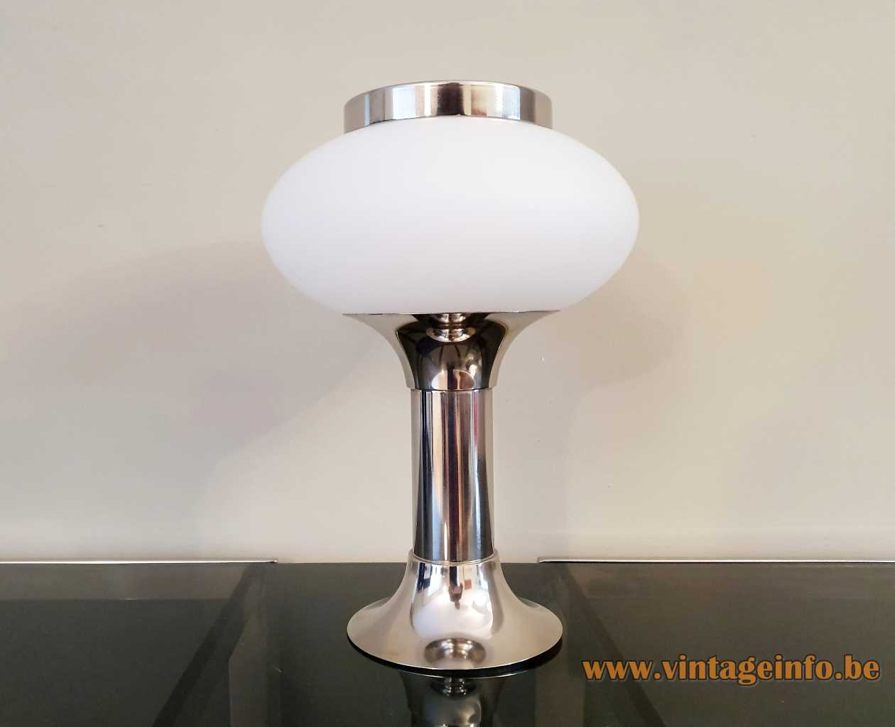 VEB NARVA chrome opal glass table lamp tubular base globe lampshade GDR East Germany 1960s 1970s