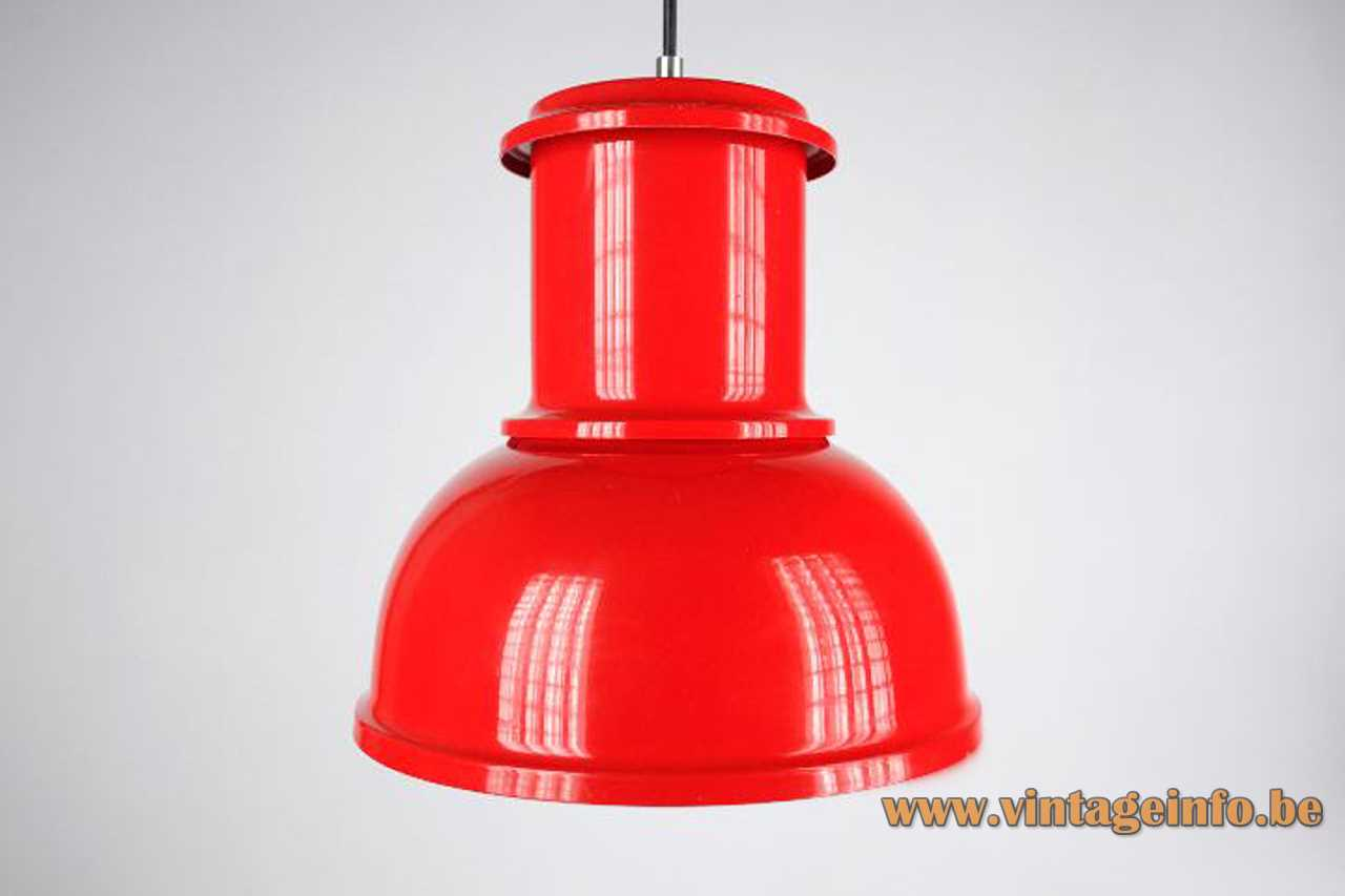 1970s Lamsar pendant lamp red industrial metal lampshade white inside E27 socket Valencia Spain