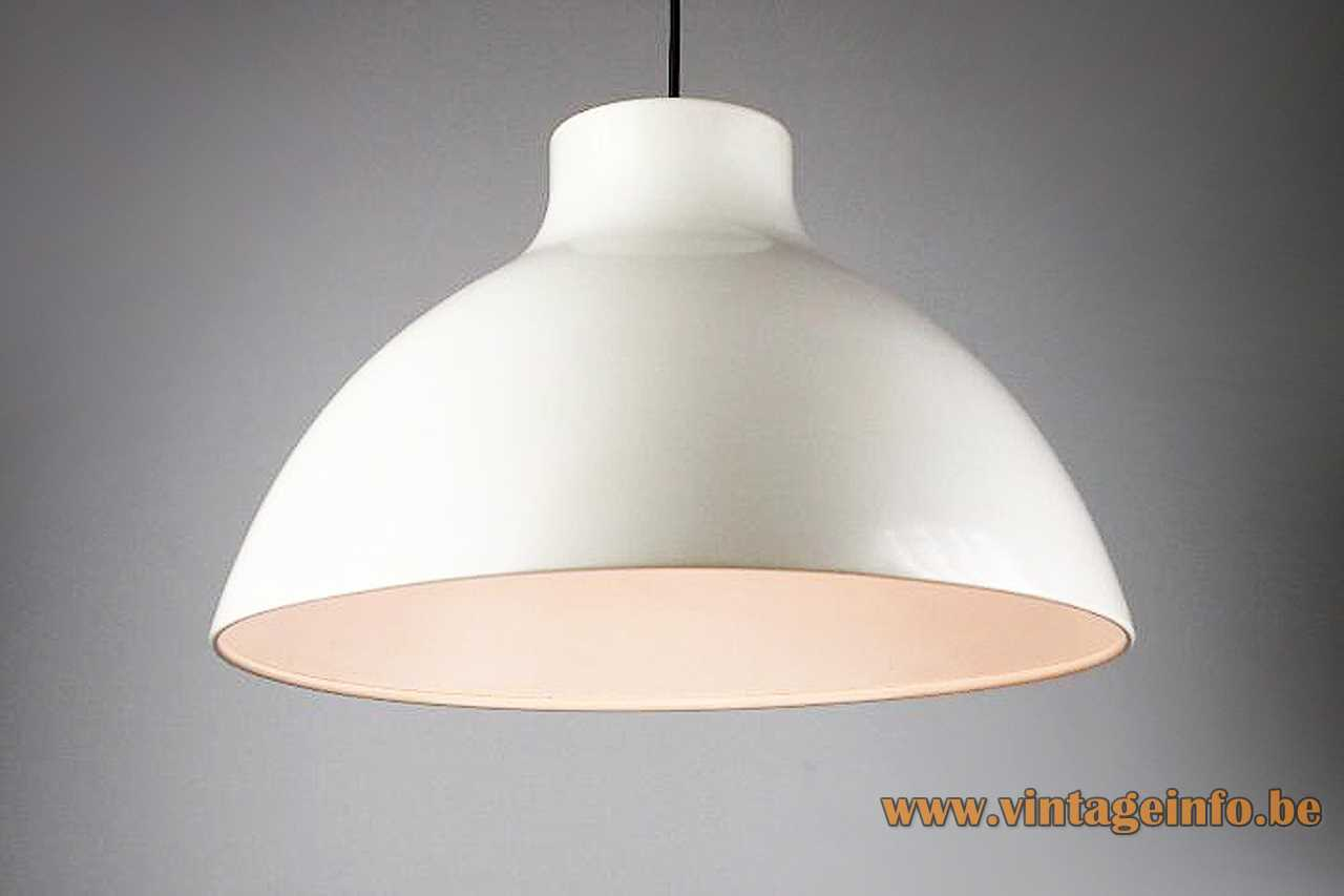 1970s metal Tramo pendant lamp white painted lampshade white inside E27 lamp socket Barcelona Spain