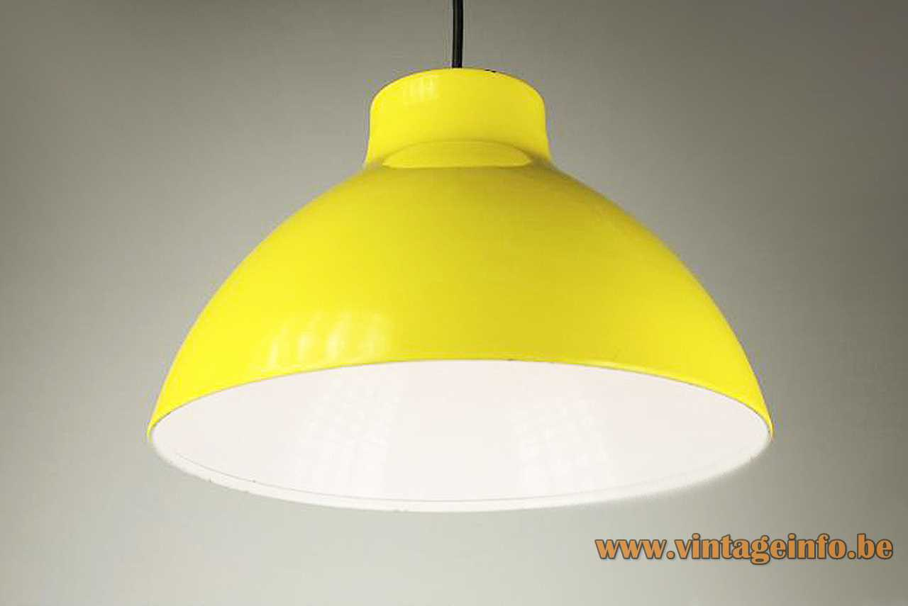 1970s metal Tramo pendant lamp yellow painted lampshade white inside E27 lamp socket Barcelona Spain