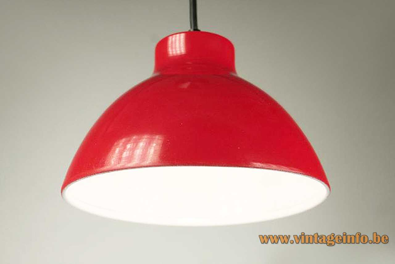 1970s metal Tramo pendant lamp red painted lampshade white inside E27 lamp socket Barcelona Spain