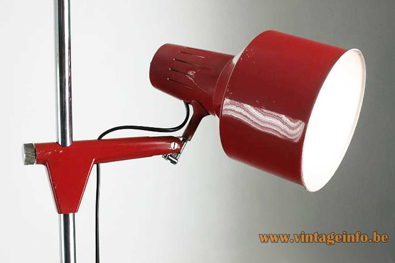 1970s Metalarte reading floor lamp red painted metal & chrome adjustable chrome rod E27 socket 1970s Spain