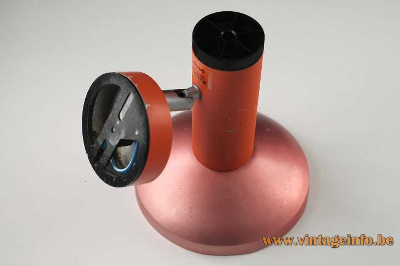 1970s Philips orange wall spotlight tube salmon pink anodised aluminium reflector E27 socket