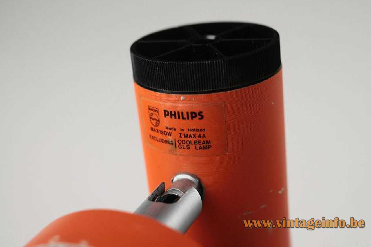 1970s Philips orange wall spotlight tube salmon pink anodised aluminium reflector E27 socket label