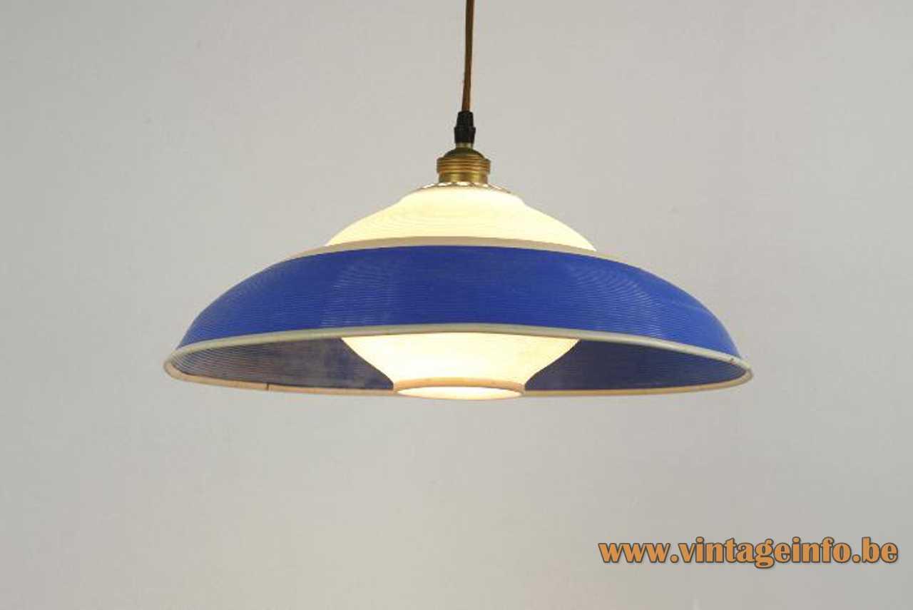 A.R.P. Rotaflex pendant lamp white & blue cellulose acetate Rhodoïd plastic lampshade 1950s France design Pierre Guariche