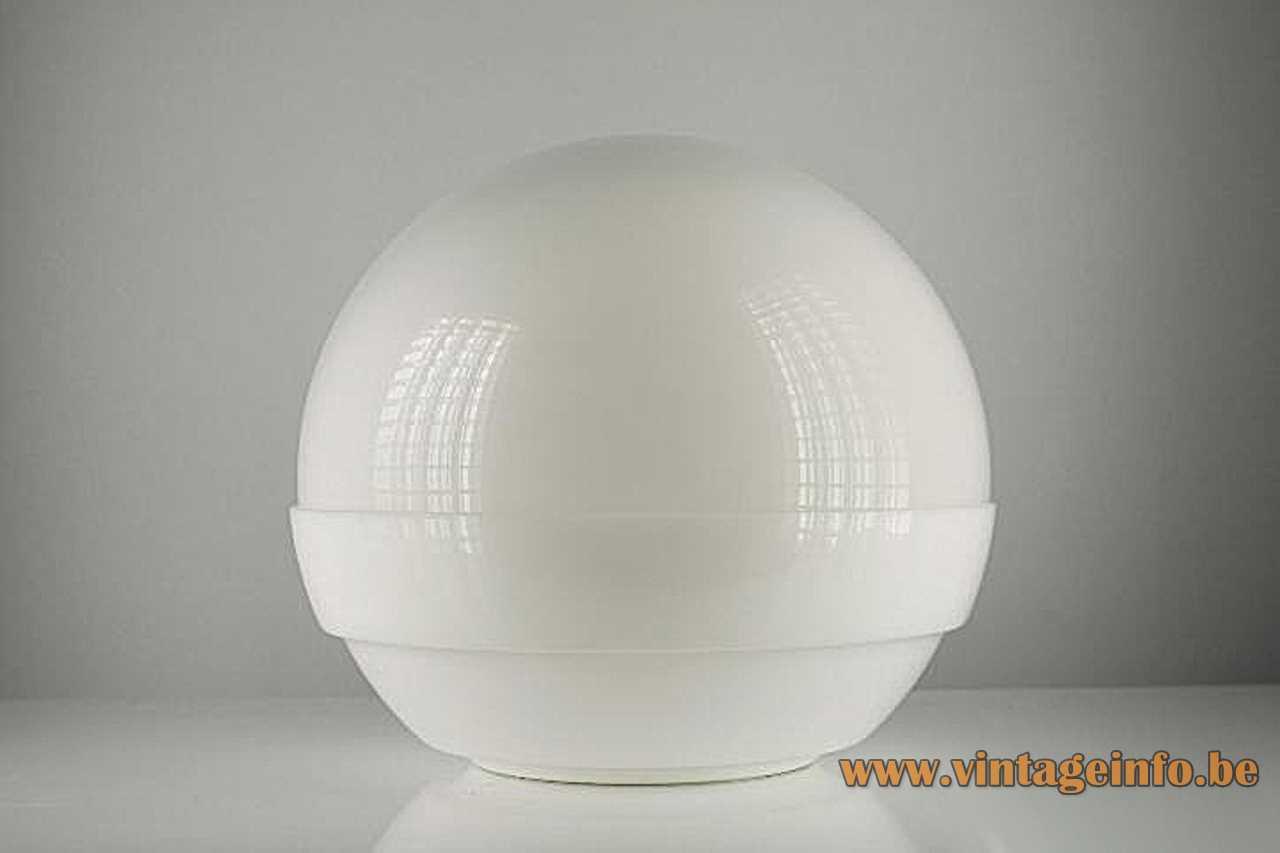 André Ricard Metalarte globe table lamp 1971 design white acrylic globe lampshade 1970s Spain E27 socket