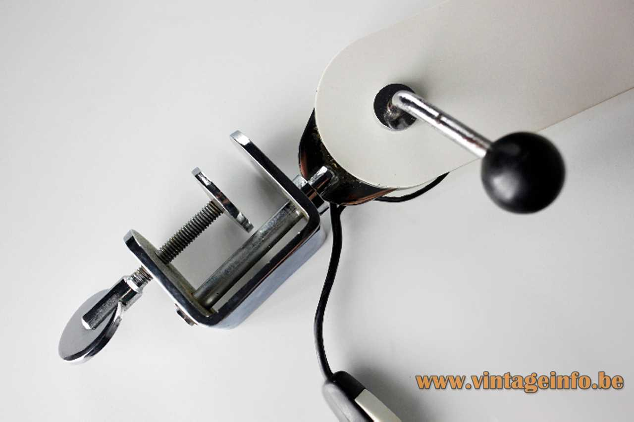 Clamp of a foldable white clamp desk lamp made of metal slats brushed aluminium lampshade E27 socket