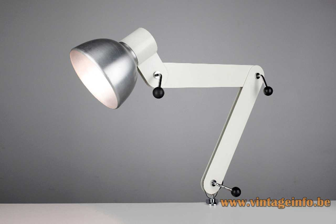 Foldable white clamp desk lamp made of metal slats brushed aluminium lampshade E27 socket
