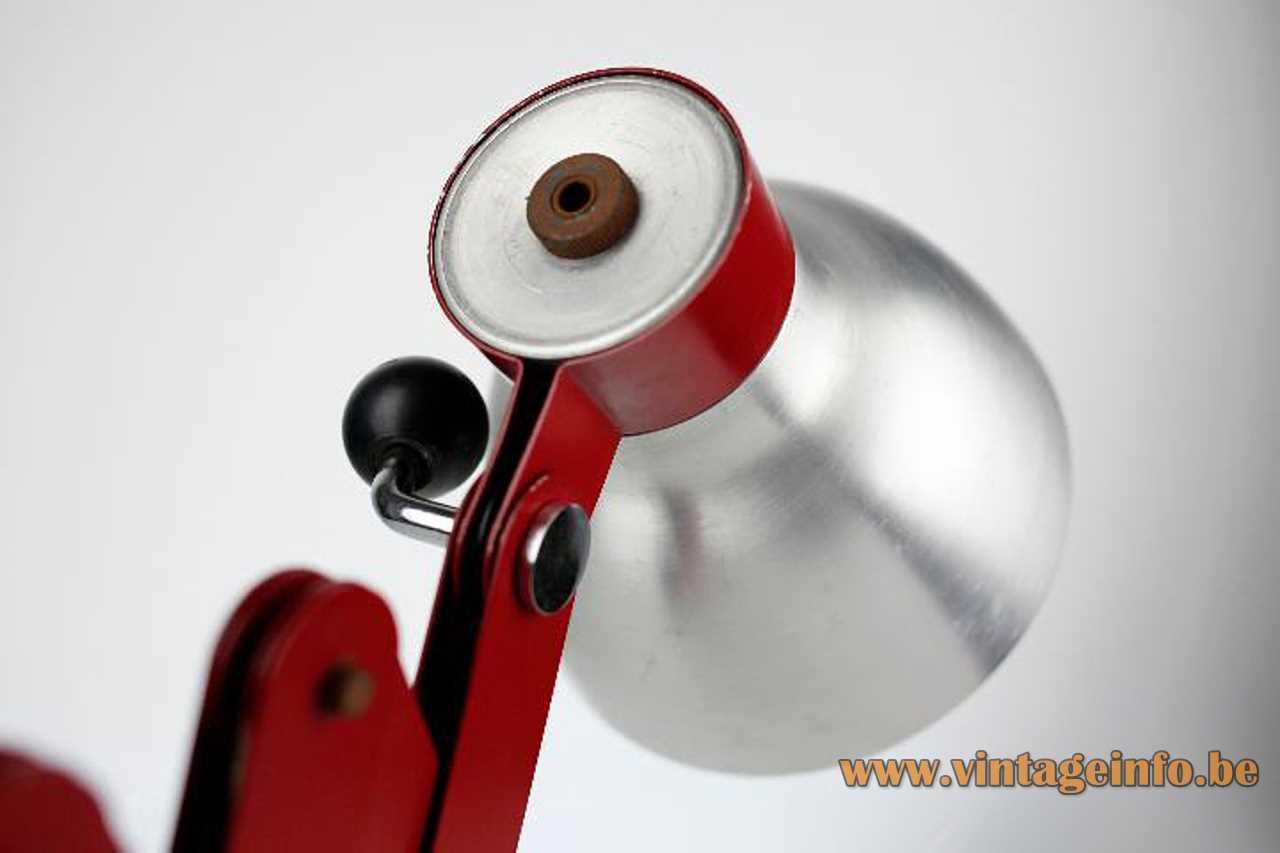 Foldable red wall lamp made of metal slats brushed aluminium lampshade E27 socket