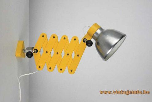 Foldable yellow wall lamp made of metal slats brushed aluminium lampshade E27 socket