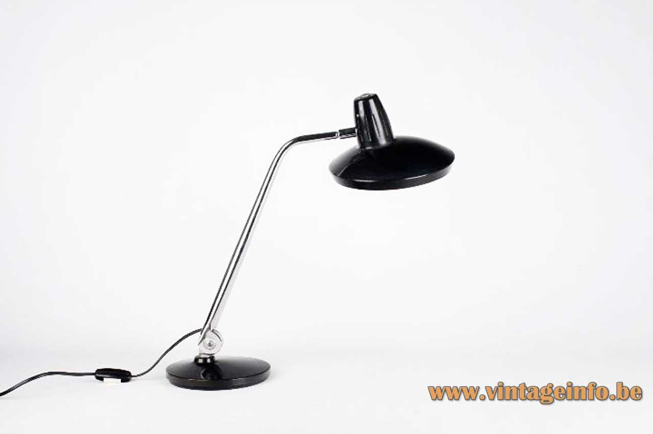 Black Fase Faro table lamp Fround metal base adjustable chrome rod round lampshade 1970s Spain
