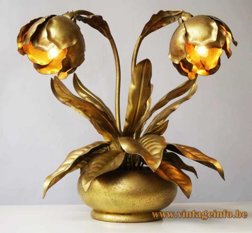 Brass peony rose flower leaves table lamp gold painted round wooden base 2 E14 sockets bulbs