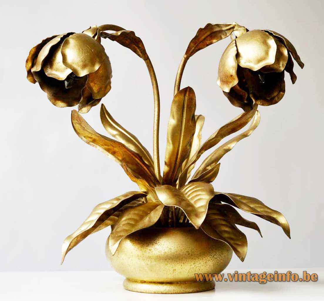 Brass peony table lamp gold painted round wood base rose flower leaves 1960s 1970s E14 sockets