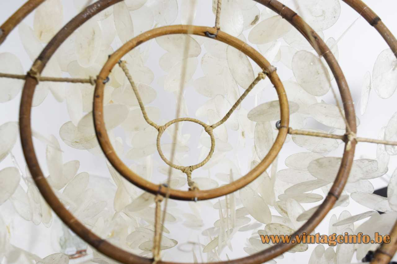 Capiz shells pendant lamp mobile windgong round cut shells discs cane rings rope 1980s Philippines