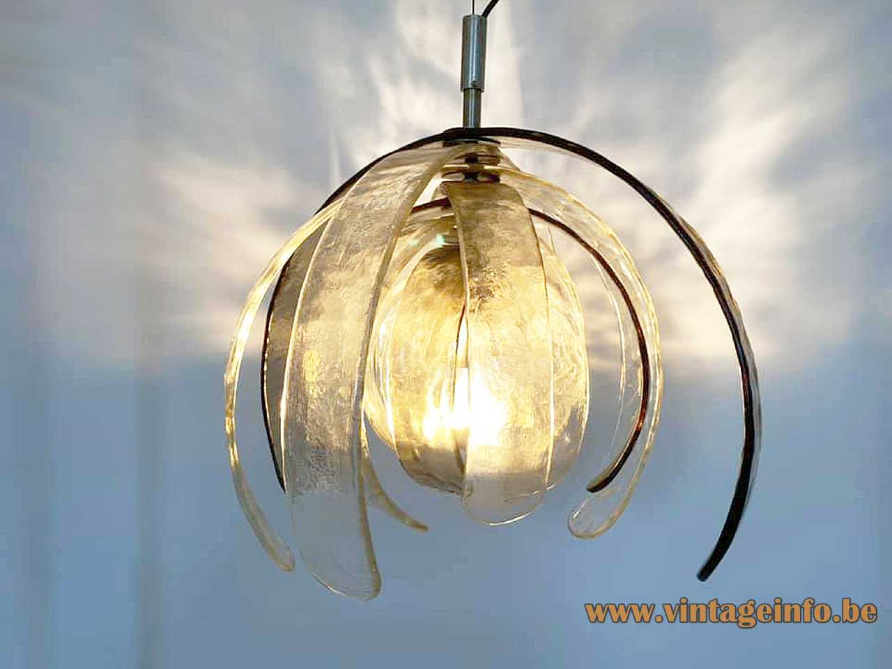 AV Mazzega pendant lamp Artichoke design: Carlo Nason curved Murano glass leaves 1970s MCM Mid-Century Modern vintage