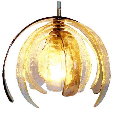 Carlo Nason artichoke pendant lamp 1970s design curved amber Murano glass leaves 1970s AV Mazzega Italy