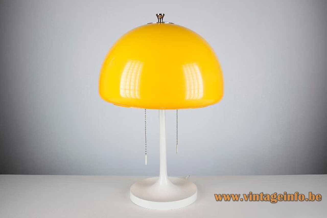 Codialpo mushroom table lamp yellow acrylic lampshade white round base & rod pull cord switches 1970s Spain