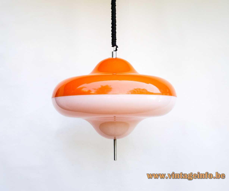 Design House Disco pendant lamp whirligig UFO spinner orange & white acrylic chrome handle Harvey Guzzini 1960s