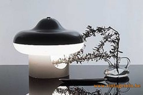 Black and white acrylic Perspex UFO whirlabout whirligig table lamp catalogue picture