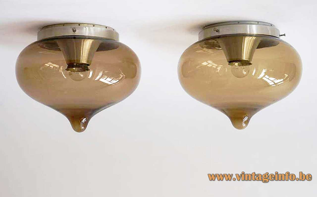 Dijkstra droplet flush mount smoked brown glass lampshade aluminium ceiling mount E27 socket 1960s 1970s Netherlands