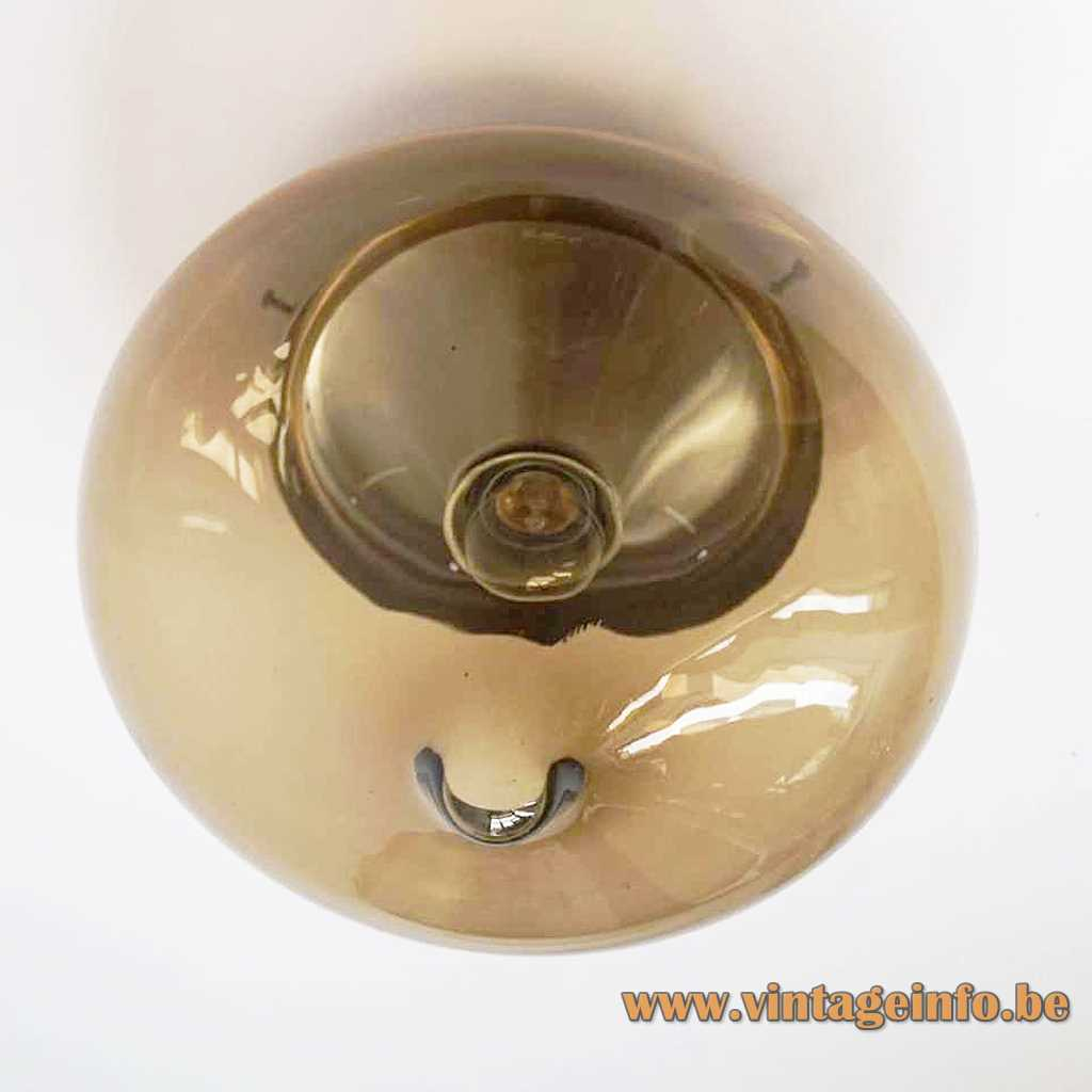 Dijkstra droplet flush mount smoked brown glass lampshade aluminium ceiling mount E27 socket 1960s 1970s Netherlands