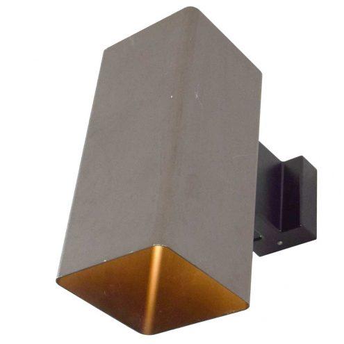 ERCO wall lamp Quadra bronze painted aluminium square cuboid light Germany 1970s MCM Mid-Century Modern E27 socket