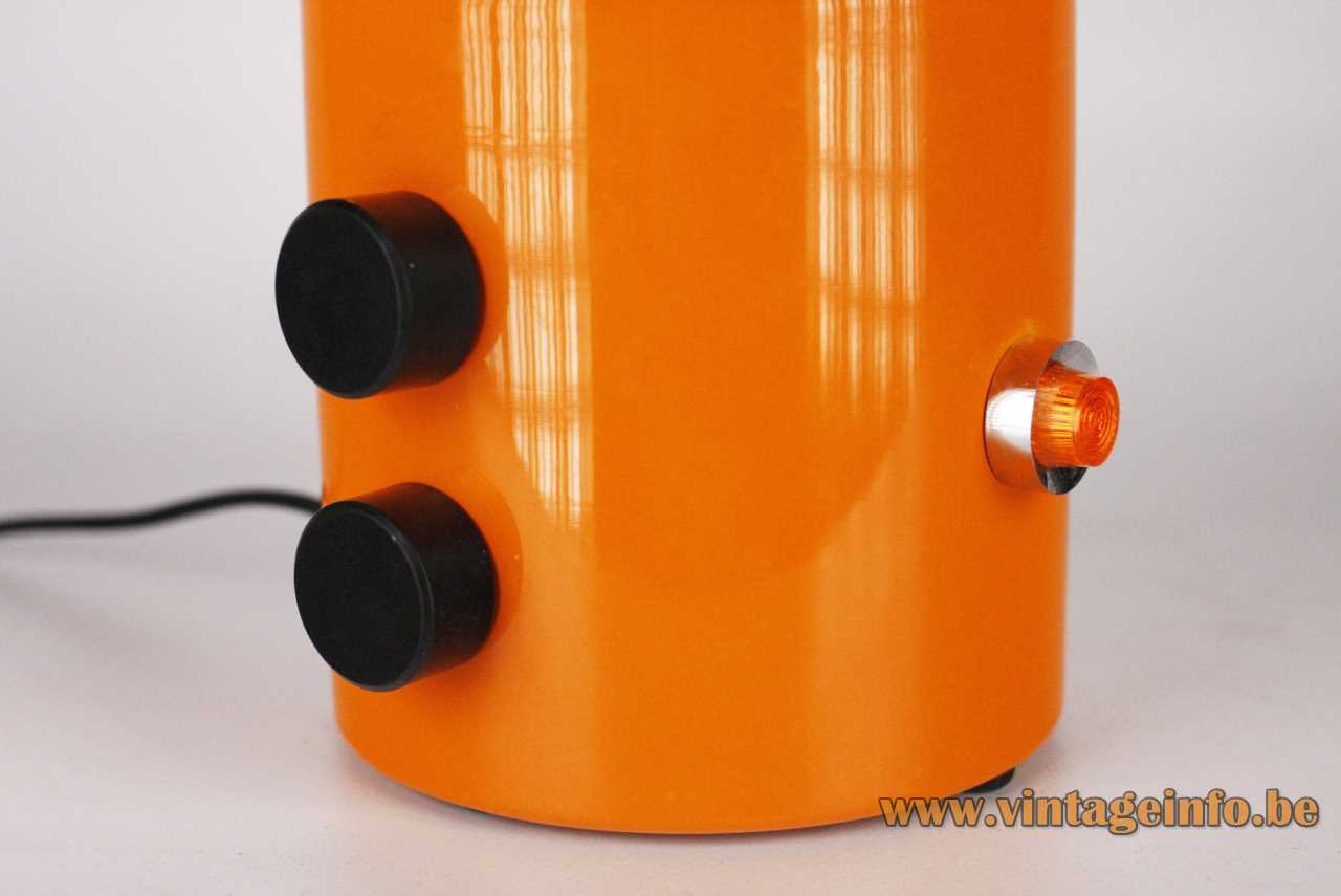 Eduardo Albors Doddó table lamp 1970s design orange base adjustable globe black switches Lamsar Spain