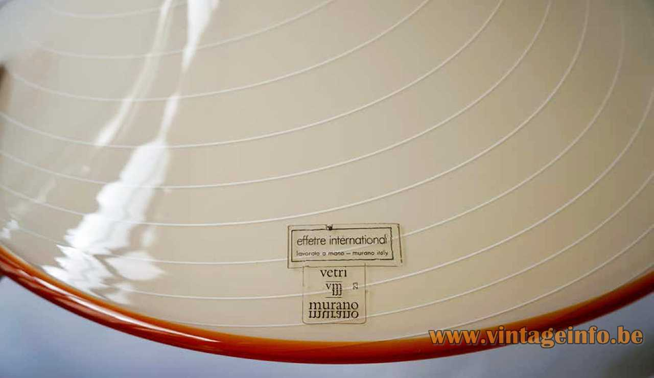 Effetre label on a striped hand blown Murano glass pendant lamp in a bell or trumpet form